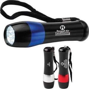 Latimore - Silkscreen - Compact Mega-bright 9 Led Aluminum Flashlight. 3-inch Black Carry Strap