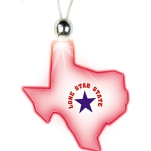 Blue - Texas - Lighted Charm Necklace With Breakaway Clasp