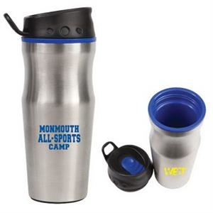 The Efficient - Blue - Stainless Steel Tumbler With Plastic Liner, 16 Oz