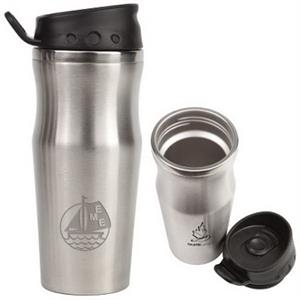 The Effective - 16 Oz Double Walled Stainless Steel Travel Cup With Non-spill Sliding Spout Closure