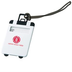 The Smart - White - Luggage Tag With Snap-open Cover And Silicone String Loop For Easy Attachment