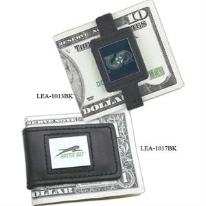 Black Leather Money Clip With A Heavy Duty Magnetic Closure