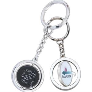 Hockey Puck Spinning Key Tag