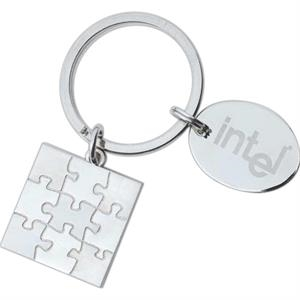 "Full Color Process - High Polished Nickel Plated Puzzle Shape Designer Key Holder With 1"" Oval Dangler"