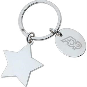 "Full Color Process - High Polished Star Shape Key Holder With 1"" Oval Dangler And Split Ring Attachment"