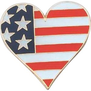 Heart Shape Pin With Flag Design
