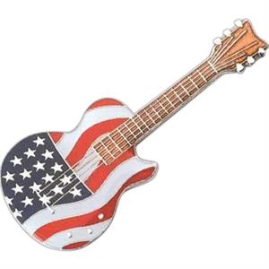 Guitar Shape Pin With U.s. Flag Design