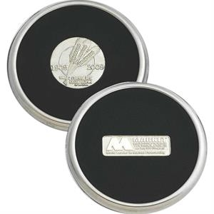 Stainless Steel Coaster With Black Poly-rubber Backing And Insert