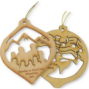 "Two Sided Imprint - Custom Wood Ornament, 2 1/2"" X 3"""