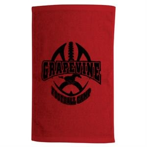 "3 Working Days - Printed - Terry Velour, Cotton Twill Hemmed Fingertip Sport Towel, 11"" X 18"""