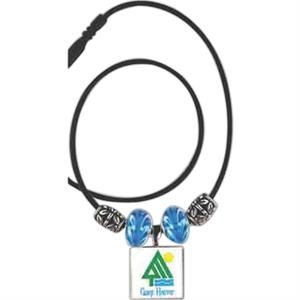 Lifetile (r) - Necklace With Decorative Maple Wood Tile, Beads And Flower Spacers