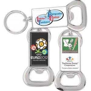 Bottle Opener Key Ring With Full Color Laminated Insert And Split Ring Attachment