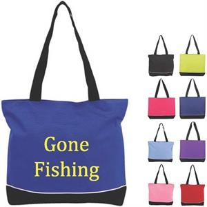 Zipper Shoulder Tote Bag With Web Shoulder Straps. Large Imprint Area On Both Sides