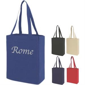 "Canvas Tote With 14"" Self Fabric Handle And Open Compartment"