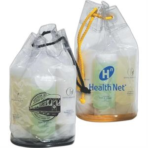 Clear Vinyl Drawstring Amenity Bag With Contrasting Colored Drawstring And Base
