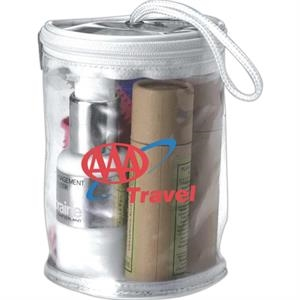 Cosmetic Or Amenity Zippered Tote Made From Clear Viny