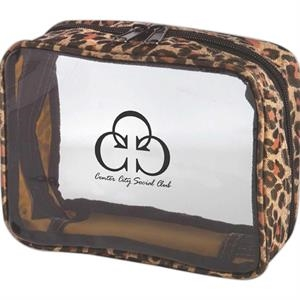 Clear Pvc And Nylon Amenity Bag With Leopard Print Trim