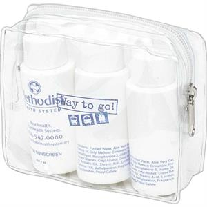 Compact And Clear Vinyl Amenity Pouch For Cosmetics Or Amenities With Welded Edges