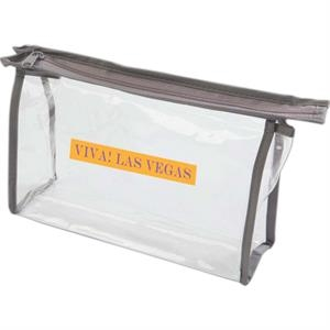 Gray Trim - Clear Pvc Cosmetic Or Amenity Bag With Trim