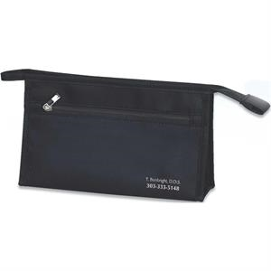 Compact Black Satin And Nylon Amenity Bag