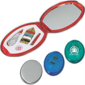 Travel Size Oval Sewing Kit With Mirror