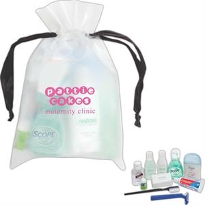 Drawstring Eva Bag With Deodorant, Lip Balm, Shampoo, Lotion And Soap And More