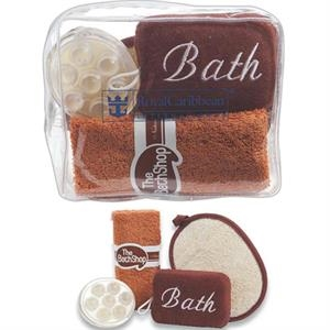 Eva Bag With Sponge Scrubber, Bath Towel, Loofah Pad And Massager