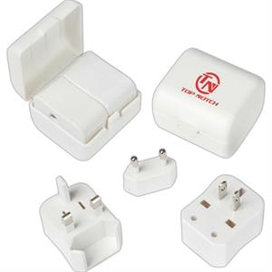 2 Piece Universal Adapter Plug In White Case