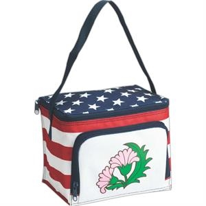 U.s. Patriot 6-can Cooler With Zipper Front Pocket, Insulated And Water Resistant