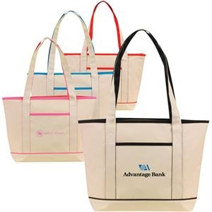 Contrast Natural Boat Tote With Contrast Color Trims, 600 Denier Polyester
