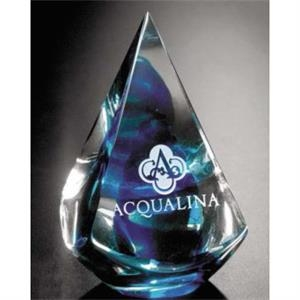 "Quatro Pyramid Art Glass Gallery - Blue Pyramid Shape Art Glass Award, 2 3/4"" X 4"" X 2 3/4"""