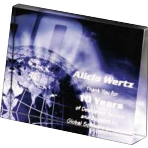 "Illumachrome (tm) Gallery - 4 3/4"" X 3 1/2"" X 1"" - Wedge Horizontal Award Made Of Optical Crystal"