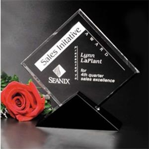 "Sable Gallery Cavalcade - 7"" X 7"" X 1 1/2"" - Square Optical Crystal Award With Black Glass Base"