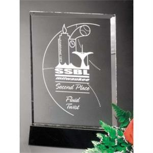"Sable Gallery Cavalcade - 5"" X 7"" X 1 1/2"" - Rectangle Optical Crystal Award With Black Glass Base"