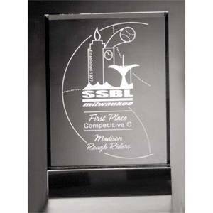 "Sable Gallery Cavalcade - 6"" X 8 1/2"" X 2"" - Rectangle Optical Crystal Award With Black Glass Base"