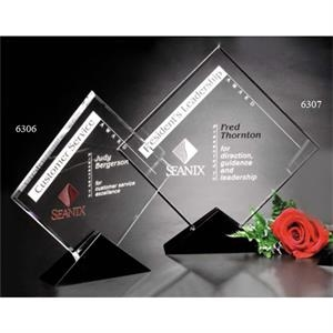 "Sable Gallery Cavalcade - 8"" X 8 1/2"" X 1 1/2"" - Square Optical Crystal Award With Black Glass Base"