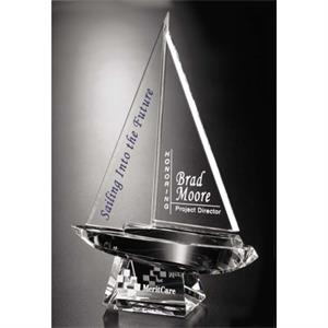 Spinnaker Pristine Gallery - Optical Crystal Award In The Shape Of A Sailboat