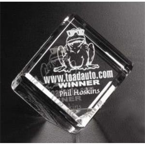 "Clipped Cube Pristine Gallery - 2"" X 2"" X 2"" - Cube Shaped Award Made Of Optical Crystal"
