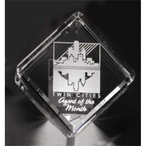 "Clipped Cube Pristine Gallery - 2 3/8"" X 2 3/8"" X 2 3/8"" - Cube Shaped Award Made Of Optical Crystal"