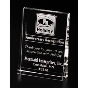"Pristine Gallery - 3 1/2"" X 4 3/4"" X 1"" - Vertical Wedge Award Made Of Optical Crystal"