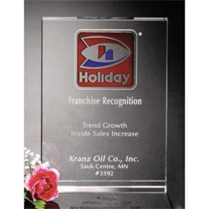 "Pristine Gallery - 5"" X 7"" X 1 1/8"" - Vertical Wedge Award Made Of Optical Crystal"