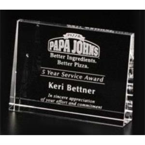 "Pristine Gallery - 4 3/4"" X 3 1/2"" X 1"" - Horizontal Wedge Award Made Of Optical Crystal"