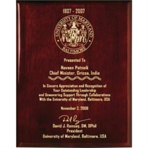 "Aberdeen Wall Plaque Gallery - 7"" X 9"" - Rosewood Plaque With Piano Finish"