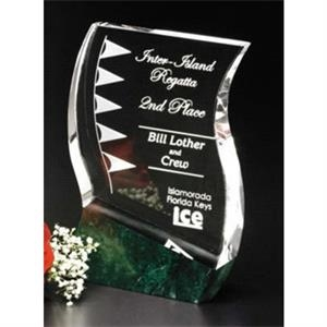 "Verde Gallery Rio Verde - 4 1/2"" X 7"" X 1 1/2"" - Award Made Of Green Marble And Optical Crystal"