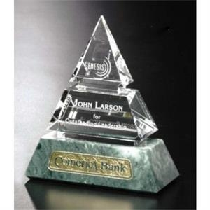"Verde Gallery Vandalia - 5"" X 6"" X 2 1/4"" - Pyramid Shaped Award Made Of Marble And Crystal"