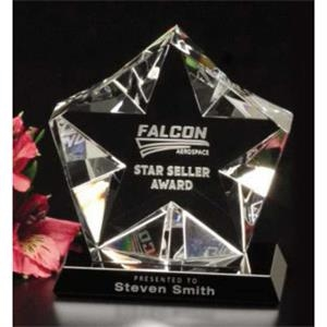 "Penta Star Star Gallery - 4"" X 4 1/2"" X 2 1/4"" - Star Award Made Of Optical Crystal On A Black Glass Base"
