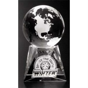 "Triad Globe Global Gallery - 2 3/8"" - Globe Award Made Of Optical Crystal"
