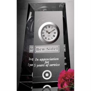 "Westchester Clock Gallery - Optical Crystal Award With Clock 4 1/4"" X 6 1/2"" X 1 3/4"""