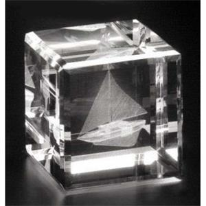 "Crystal 3d Gallery - 2 3/8"" X 2 3/8"" X 2 3/8"" - Optical Crystal Cube Award, Square Shape"