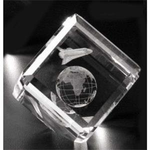 "Crystal 3d Gallery - 2"" X 2"" X 2"" - Optical Crystal Award With A Cut In The Corner"